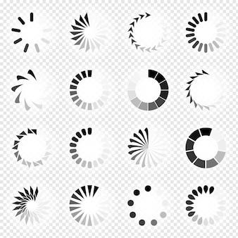Stel het laden van pictogrammen in. laden. pictogrammen laden. witte achtergrond. vector pictogram.