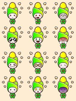 Stel het mascottekarakter van maïs en popcorn in met schattige uitdrukkingen
