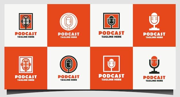 Stel het ontwerp van het radio- of podcast-logo in met het microfoonpictogram Premium Vector