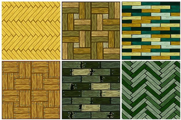 Stel het patroon van houten visgraat vloertegels in. naadloze textuur houten parket bord.