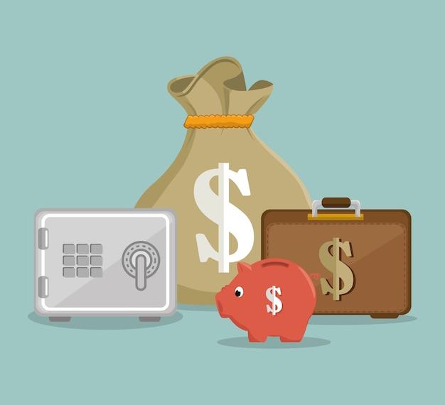 Stel het pictogramontwerp van het geld in