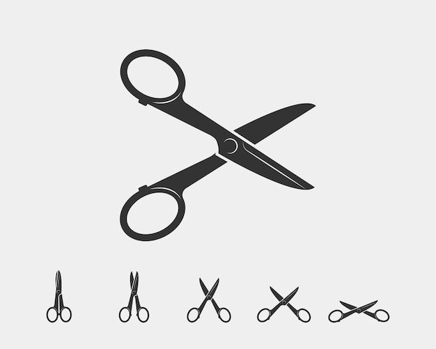 Stel het schaarpictogram in. schaar vector ontwerpelement of logo sjabloon. zwart-wit silhouet geïsoleerd.