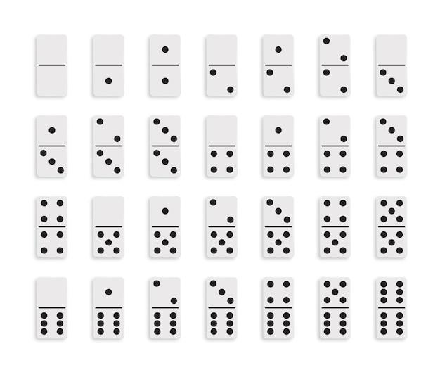 Stel het spelblok van white domino in met schaduw. Premium Vector