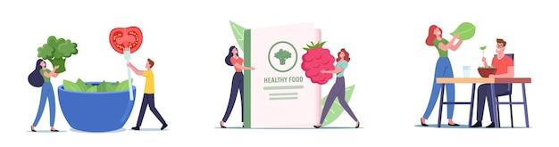 Stel het thema gezond eten in. kleine mannelijke vrouwelijke personages bij enorme kom eten verse natuurlijke verrijkte producten, vegetarisch dieet, gezonde levensstijl, biologische vitaminevoeding. cartoon mensen vectorillustratie