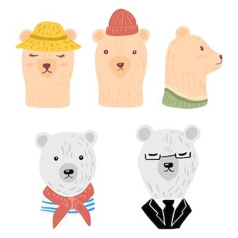 Stel hoofd ijsberen en bruine beren in. vrolijke karaktervrouw in hoed en halsketting, man met muts, hutjongen en zakenman.
