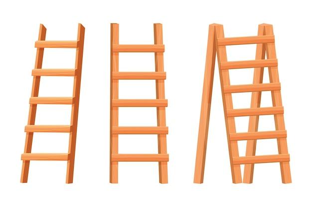 Stel houten ladder in platte cartoon stijl geïsoleerd op een witte achtergrond