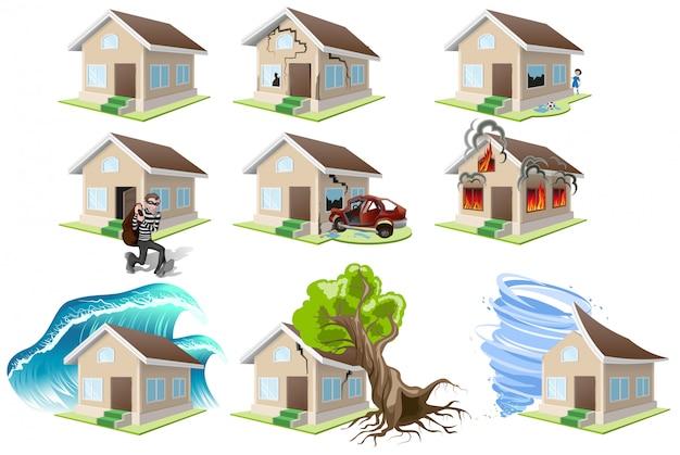 Stel huizen ongeluk. huisverzekering. inboedelverzekering