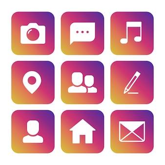 Stel iconen in van camera, fotografie, tekstballon, muzieknoot, locatiepunt, avatar, potlood, huis en envelop