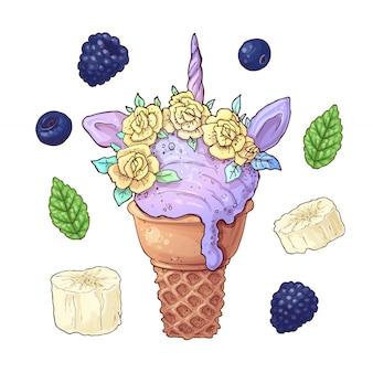 Stel ijs eenhoorn blackberry banaan