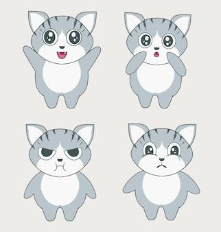 Stel illustratie schattig kattenkarakter in