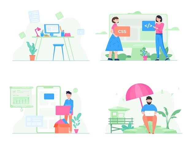 Stel illustratie van een teamwerk dat een nieuw bedrijfsproduct opbouwt