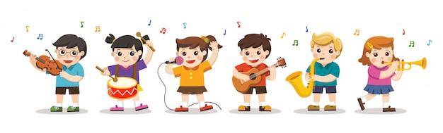Stel illustratie van kinderen spelende muziekinstrumenten. hobby's en interesses.