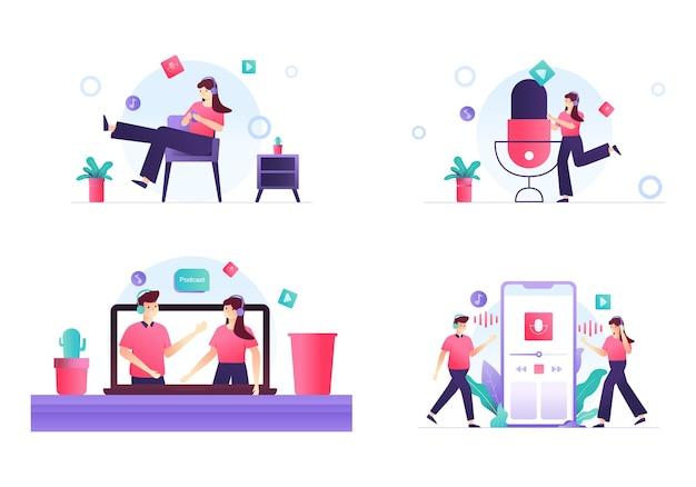 Stel illustratie van man en vrouw praten over podcast of radio
