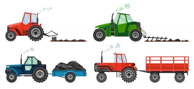 Stel in of landbouwtractoren het land bewerken of een aanhanger dragen. zware landbouwmachines voor veldwerk transport voor boerderij in vlakke stijl.