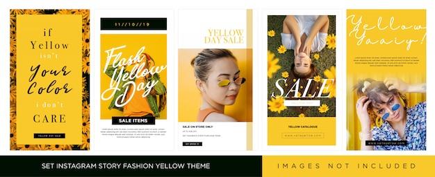 Stel instagram story voor fashion geel thema in