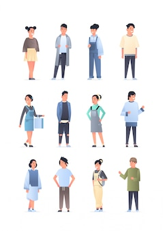 Stel jonge aziatische mannen vrouwen groep dragen casual kleding gelukkig aantrekkelijke kerel meisjes permanent pose chinees of japans vrouwelijke mannelijke karakters collectie verticaal