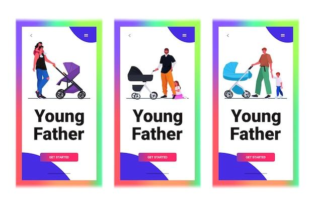 Stel jonge vaders wandelen buiten met kinderen vaderschap ouderschap concept vaders tijd doorbrengen met kinderen horizontaal
