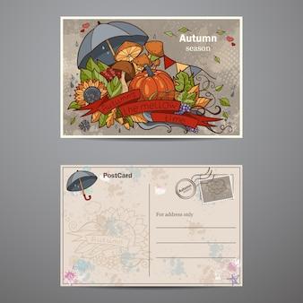 Stel kaarten van de twee kanten in op het thema van de herfst