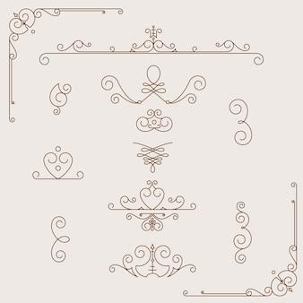 Stel kalligrafische ontwerpelementen en pagina-decoratie, vintage frame-collectie in