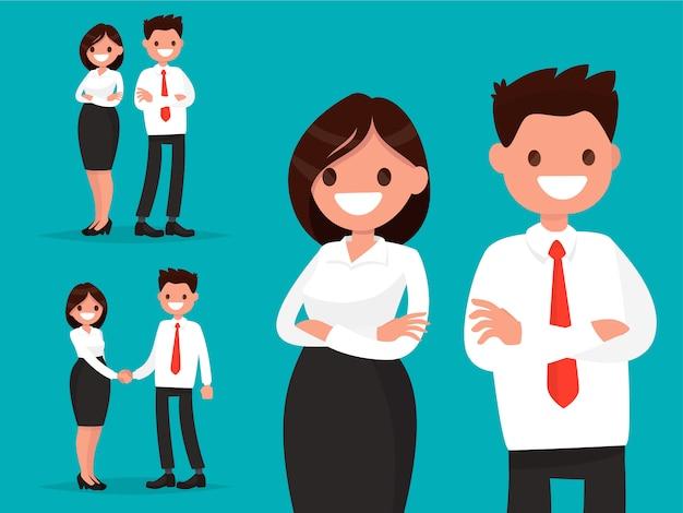 Stel kantoorpersonages in. bedrijfspaar samen en schok handenillustratie