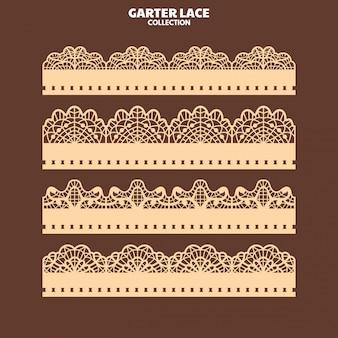 Stel kantpatroon met garter voor borduren en lasersnijden in