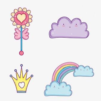 Stel kawaii cloud en regenboog in met wolken en kroon