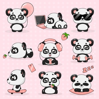 Stel kawaii crazy kleine panda, vectorillustratie.