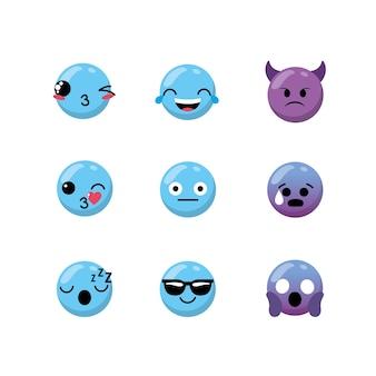 Stel kawaii emoji emotie ontwerp pictogram