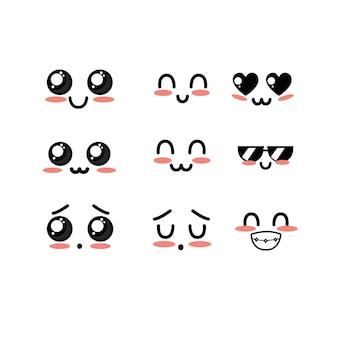 Stel kawaii schattige zachte gezichten met expressie