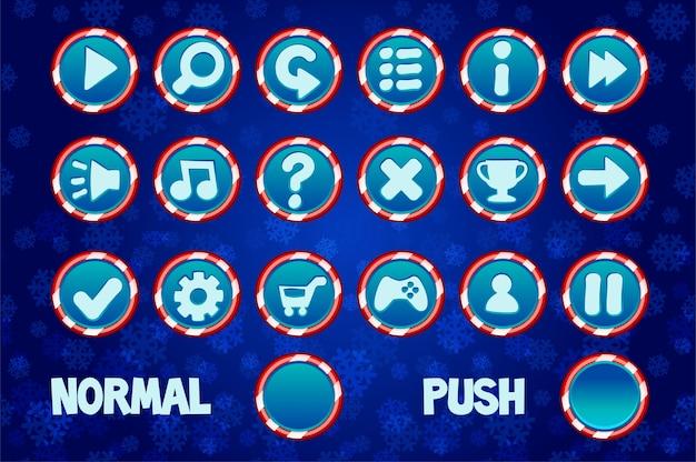 Stel kerstknoppen in voor web- en 2d-games-gebruikersinterface. normaal en druk op cirkelknop