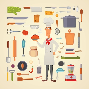 Stel keukenplanken en kookgerei in.
