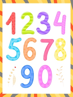 Stel kinderen in flashcard nummer tracering leren tellen en schrijven