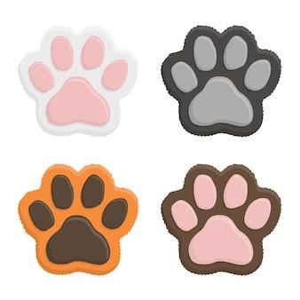 Stel kittenpoten in. dierlijke kat pootafdruk in vlakke stijl geïsoleerd op een witte achtergrond.