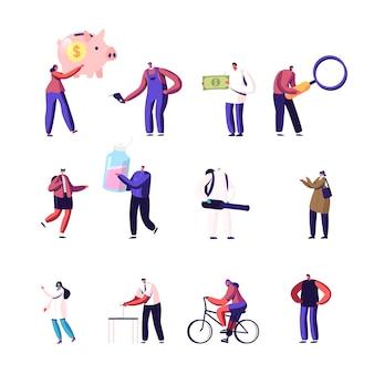 Stel kleine mannelijke en vrouwelijke karakters in met verschillende elementen