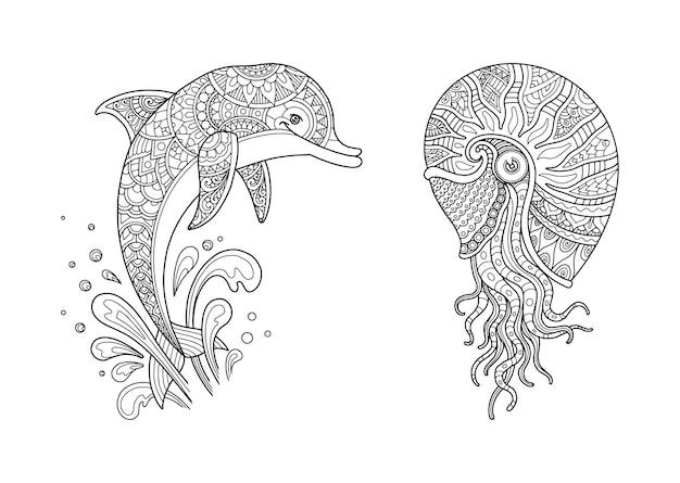 Stel kleurpagina-ontwerp duidelijke achtergrond, mandala's-ontwerp en afdrukontwerp in