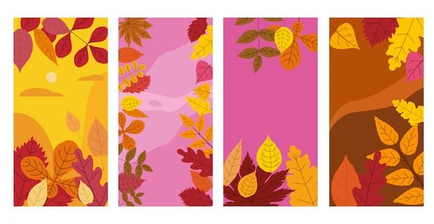 Stel kleurrijke herfst sjablonen sociale media verhalen banners van herfst gevallen bladeren
