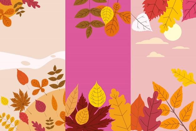 Stel kleurrijke herfstsjablonen van herfst gevallen bladeren oranjegeel gebladerte in. achtergronden sociale media verhalenbanners