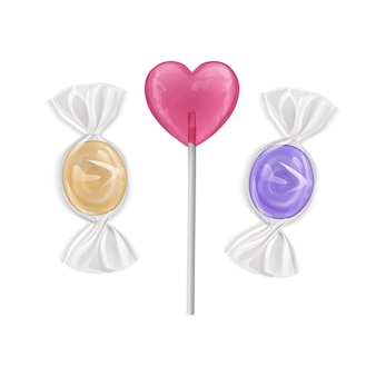 Stel kleurrijke zoete lollies in. snoepjes van vorm van harten op stok en karamels, geïsoleerd.