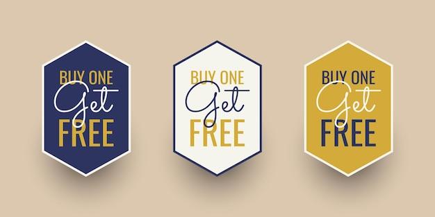 Stel koop er een en ontvang gratis labelsjabloonontwerp