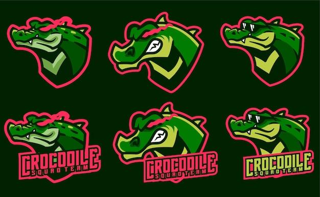 Stel krokodilmascottes in