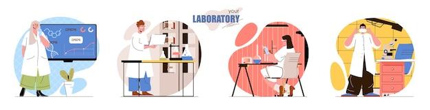 Stel laboratorium platte ontwerp concept illustratie van personen karakters in