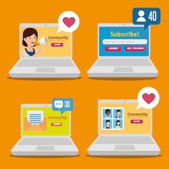 Stel laptop met sociaal profiel in op communicatiebericht