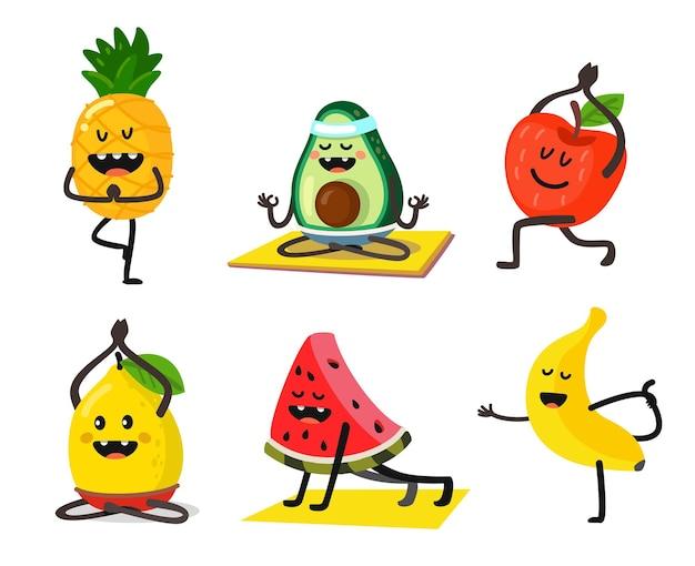Stel leuke en schattige cartoonvruchten in om yoga in verschillende poses te doen