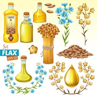 Stel lijnolie, vlasveld, zaden en bloemen in.