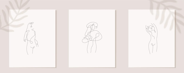 Stel lineaire vrouw figuur muur poster decor in