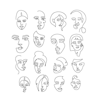 Stel lineaire vrouwenportretten in. continu lineair silhouet van vrouwelijk gezicht. overzicht kunst hand getrokken