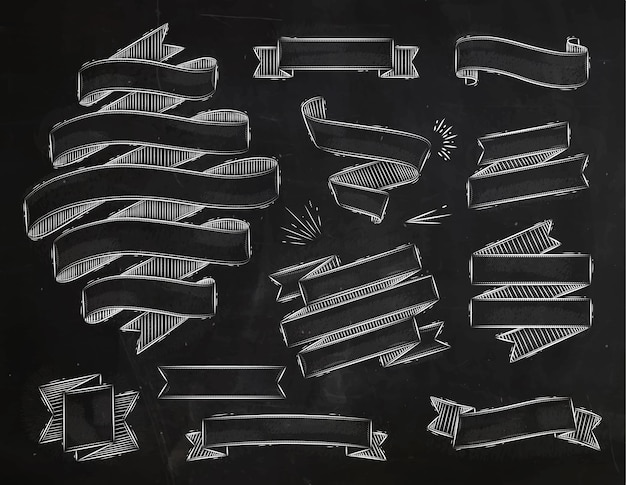 Stel linten in vintage stijl gestileerde tekening met krijt