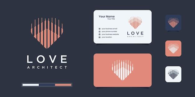 Stel logo-architectuur in met hart- of liefdesconcept-logo-inspiratie