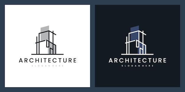 Stel logo-architectuur in met lijnconcept logo-ontwerpinspiratie