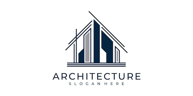 Stel logo-architectuur in met lijnstijl concept logo-ontwerpinspiratie
